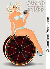 女の子, の上, カジノ, ピン, 性, ポーカー