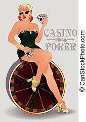女の子, の上, カジノ, sensual, ピン, ポーカー
