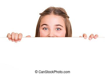 女の子, の後ろ, a, 白人の委員会