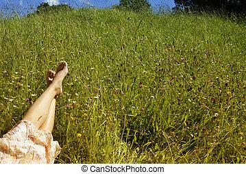 女の子, はだしで, 牧草地, あること, 若い