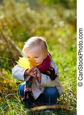 女の子, よちよち歩きの子, 葉, 黄色