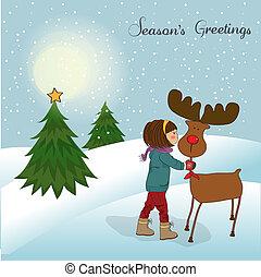 女の子, わずかしか, カード, クリスマス