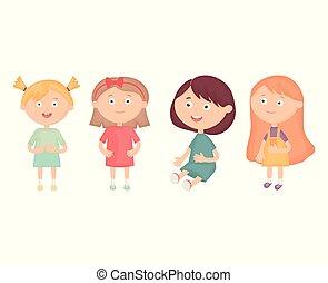 女の子, わずかしか, グループ, 特徴