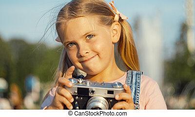 女の子, わずかしか, レトロ, カメラ