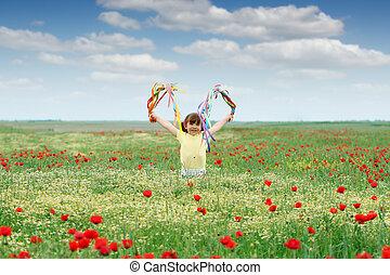 女の子, わずかしか, 牧草地, 春, 幸せ