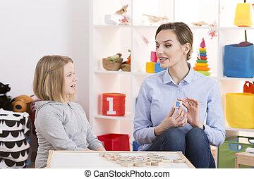 女の子, わずかしか, 療法, スピーチ, の間