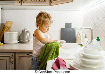 女の子, わずかしか, wipes, 皿, 台所