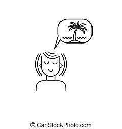 女の子, アイコン, 休暇, 夢を見ること