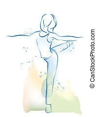 女の子, アウトライン, イラスト, ダンス