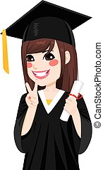 女の子, アジア人, 卒業