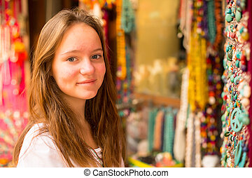 女の子, アジア人, 贈り物, shop.