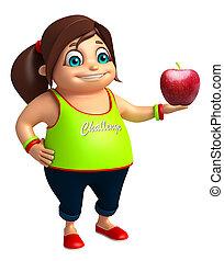 女の子, アップル, 子供