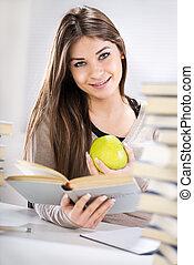女の子, アップル, 学生