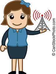 女の子, インターネット, 信号タワー