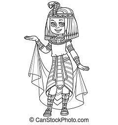 女の子, エジプト人, 概説された, かわいい, 衣装, 王女, 着色, ページ