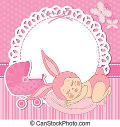 女の子, カード, 出生, 子供