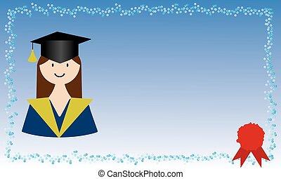 女の子, カード, 卒業