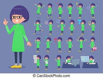 女の子, ガラス, 1, 緑, 平ら, タイプ, 衣服