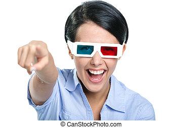 女の子, ガラス, 3d, 指すこと, 人差し指