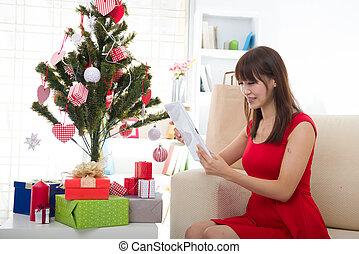 女の子, クリスマス, アジア人