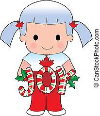 女の子, クリスマス, カナダ