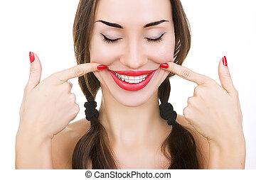 女の子, クローズアップ, 歯, 微笑, 保持器, 美しい