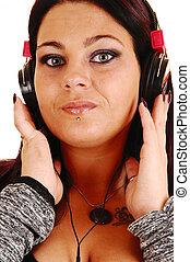 女の子, クローズアップ, headphones.