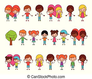 女の子, グループ, 特徴, 男の子