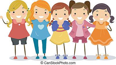 女の子, グループ