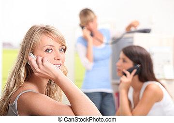 女の子, グループ, 電話
