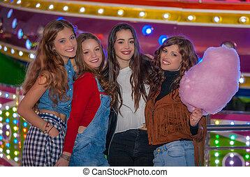 女の子, グループ, fair., カーニバル