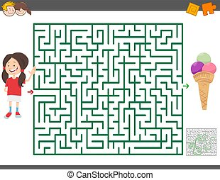 女の子, ゲーム, 迷路, アイスクリーム, 漫画