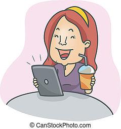 女の子, コンピュータ, タブレット
