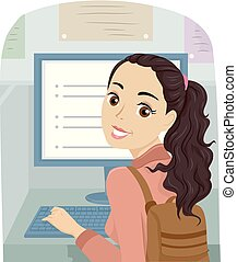 女の子, コンピュータ, 図書館, 十代