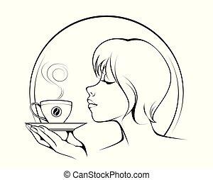 女の子, コーヒーカップ
