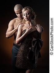 女の子, コーヒー, 作られた男, 豆, 黒いドレス