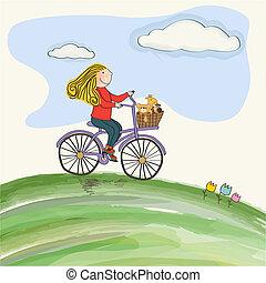 女の子, サイクリング, 牧草地, 若い