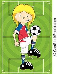 女の子, サッカー, フットボール選手, ボール