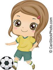 女の子, サッカー, 子供