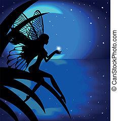 女の子, シルエット, 妖精, 月