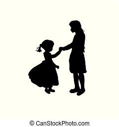 女の子, シルエット, 姉妹, 家族