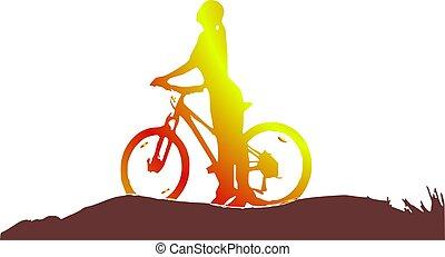 女の子, シルエット, 自転車