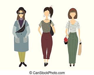 女の子, シルエット, 若い, women.