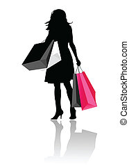 女の子, シルエット, 買い物