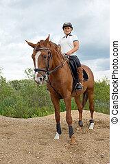 女の子, ジャンプする, 馬の背