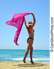 女の子, スカーフ, コーカサス人, 浜。, 美しい