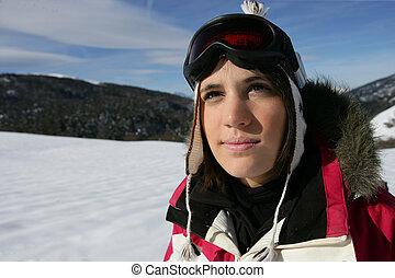女の子, スキー休暇