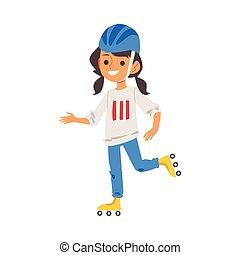 女の子, スケート, ローラー, isolated., イラスト, 特徴, ベクトル, 平ら, スケート
