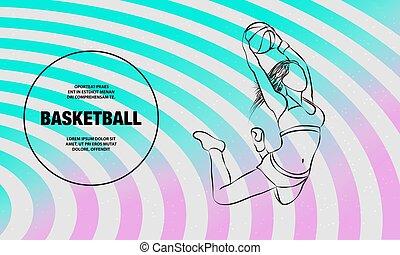女の子, スポーツ, illustration., アウトライン, バスケットボール, player., プレーヤー, ダンク, slam, ベクトル