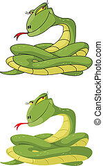 女の子, セット, ヘビ